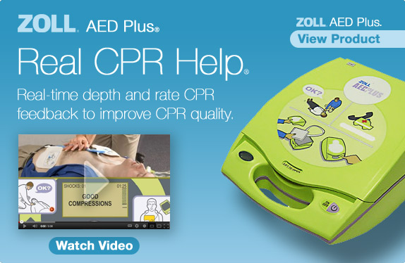 ZOLL® AED Plus® Real CPR Help® Real-time depth and rate CPR feedback to improve CPR quality. View AED Plus. Watch Video.